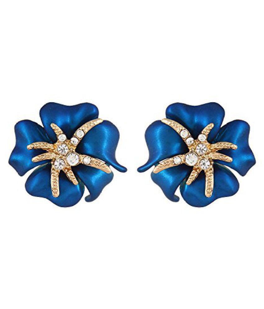 Fayon Daily Casual Work Blue Flower Stud Earrings