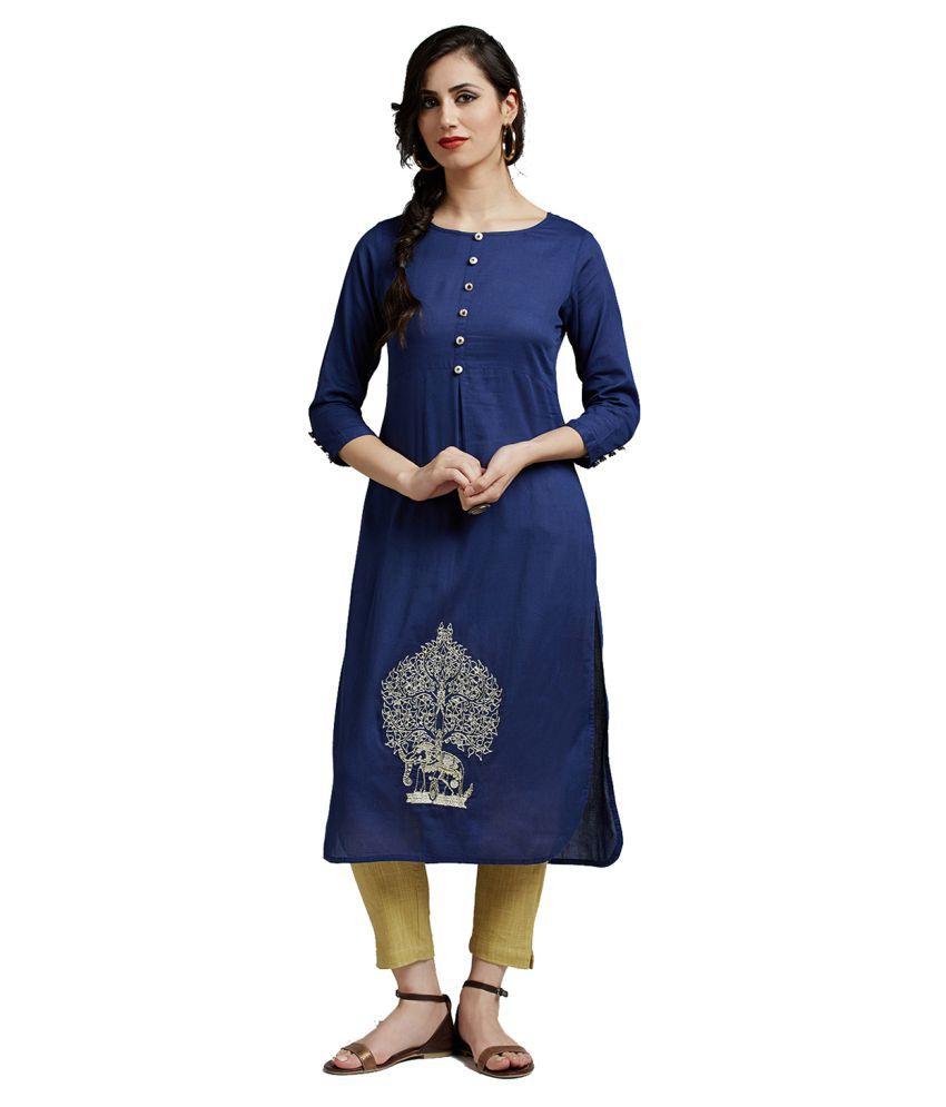 Jaipur Kurti Blue Cotton Straight Stitched Suit