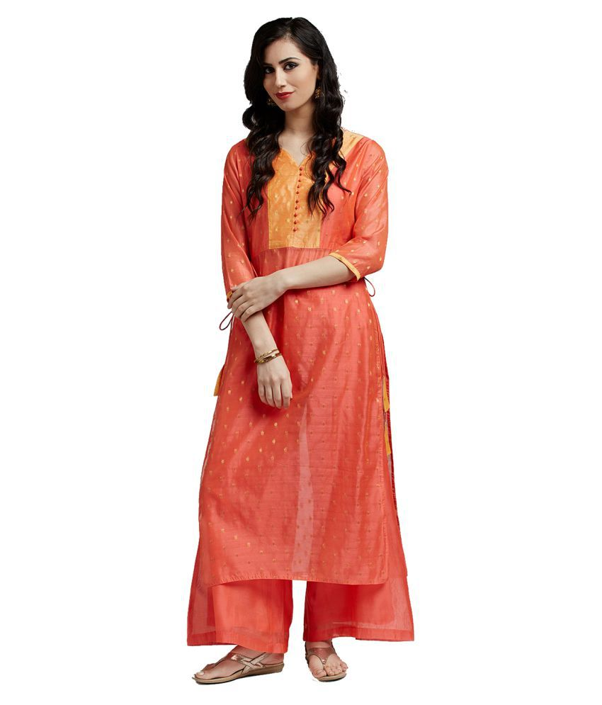 Jaipur Kurti Peach Chanderi Straight Stitched Suit