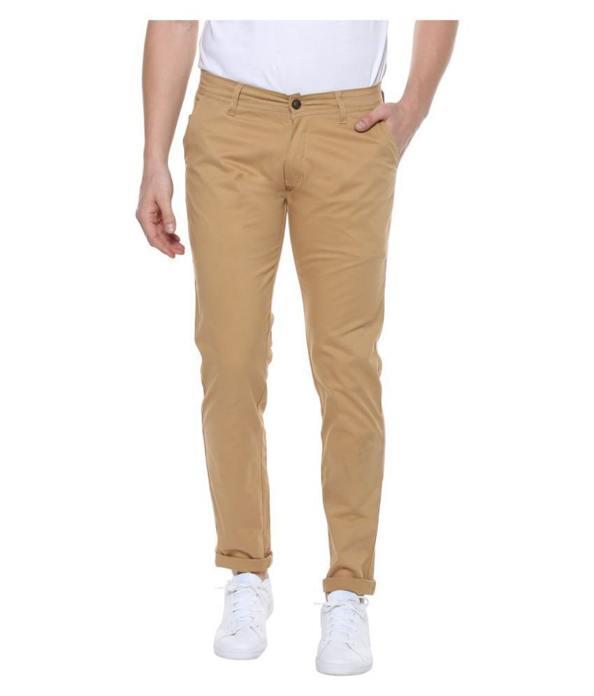 Urbano Fashion Beige Slim -Fit Flat Chinos