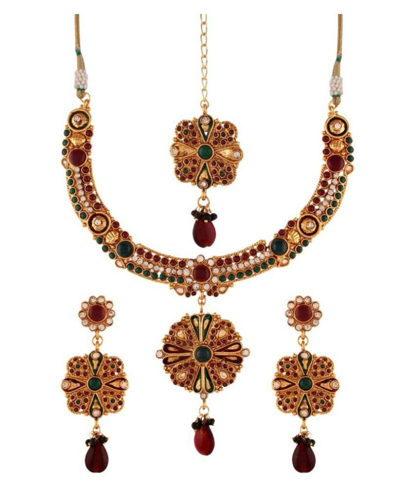 Variation Alloy Gold Plating Stones Studded Gold Coloured Necklace Set