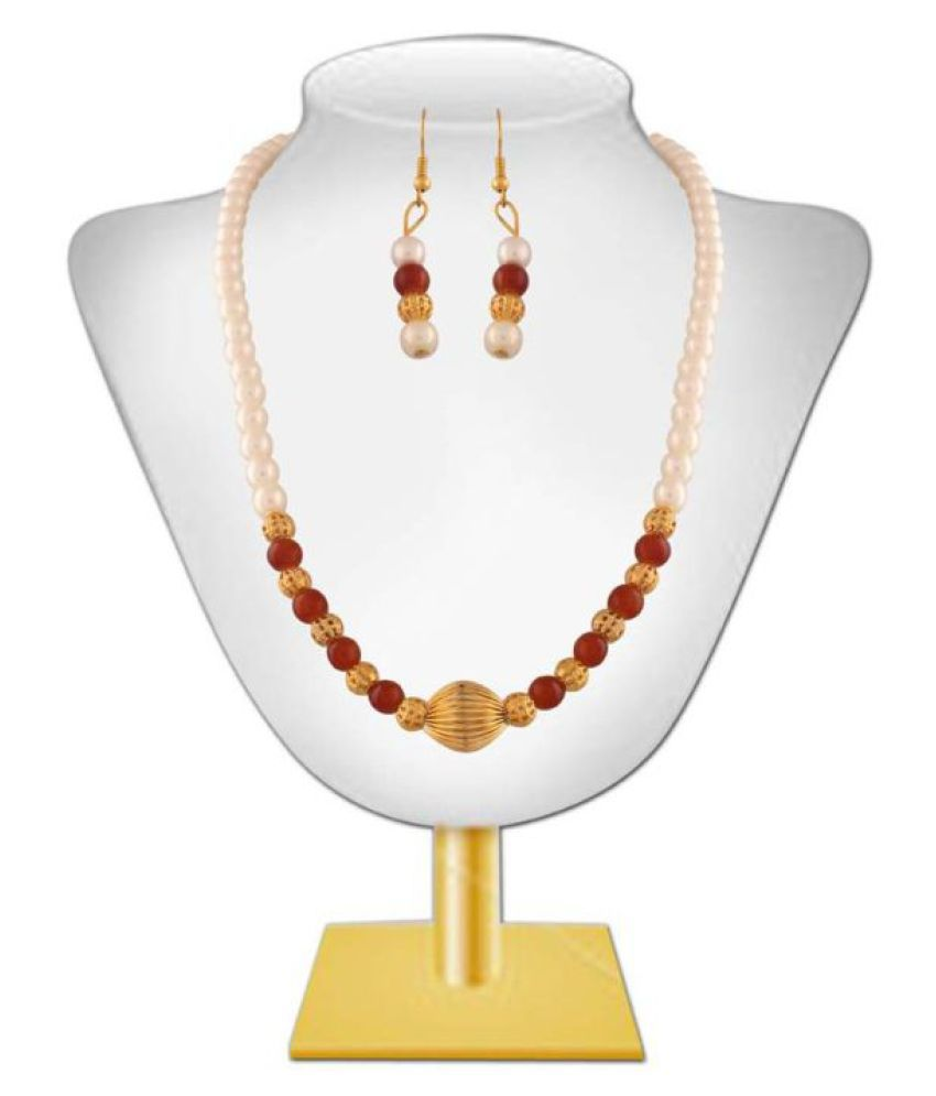 Variation Red Pearl Crystal Fashion Necklace Set
