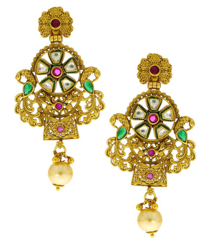 Anuradha Art Gold Finish Studded With Kundan Stylish Royal Look This Traditional Earrings For Women/Girls