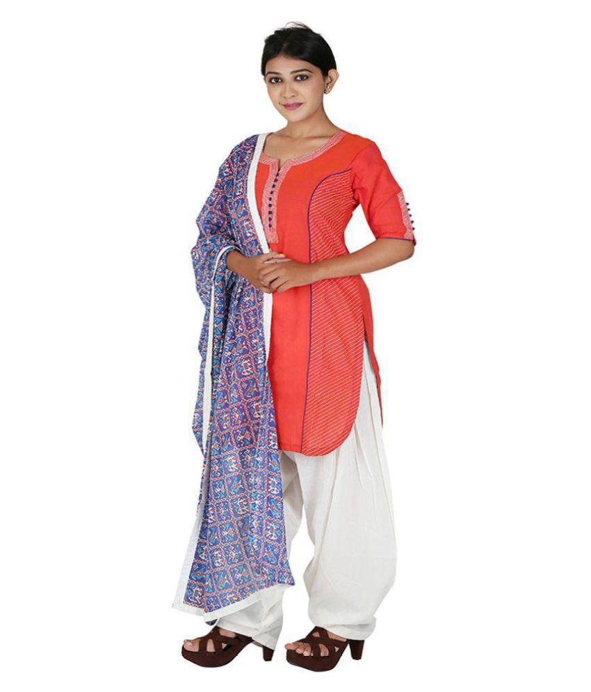 PAYAL Red Cotton Straight Stitched Suit