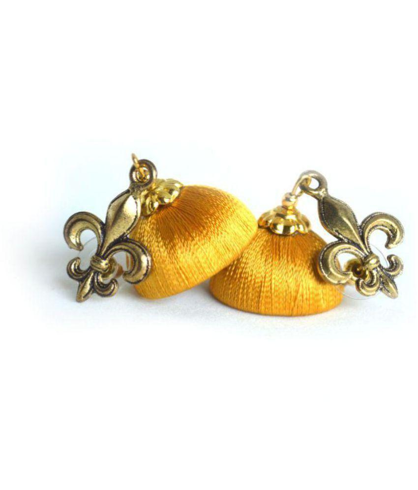 DarkLady's Silk Thread Jhumka-Drop Earring Beige Color Glossy Finish Bead Work For Women & Girls
