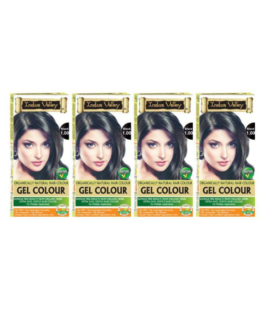 Indus Valley Hair Colouring Kit Gel Black 1.00 Permanent Hair Color Black 1.00 200 g Pack of 4