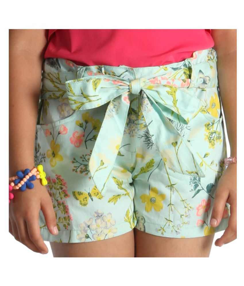 Light green mercerised cotton shorts for girls with floral print and fabric knotted belt by Paul & Doll
