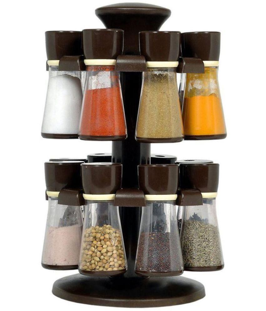 Vittamix 16- Jar Brown Revolving Masala Rack Polycarbonate Spice Container Set of 11-20
