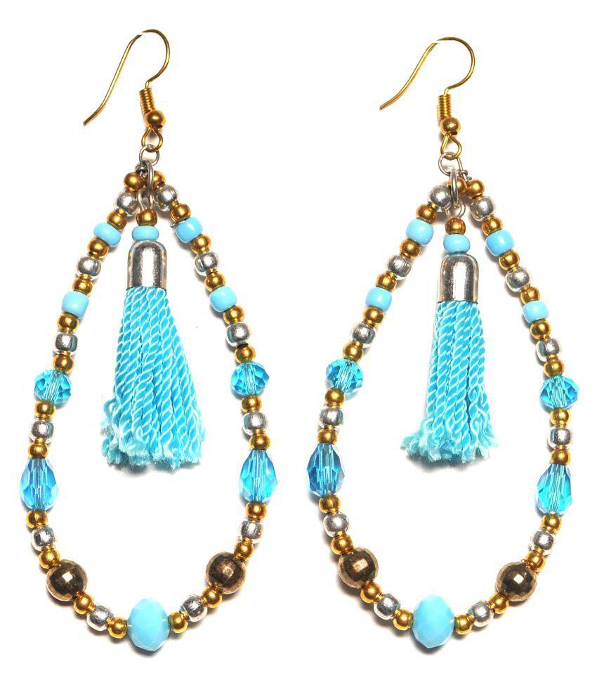 Zurii Elegant turquoise Beaded tassel Earring.