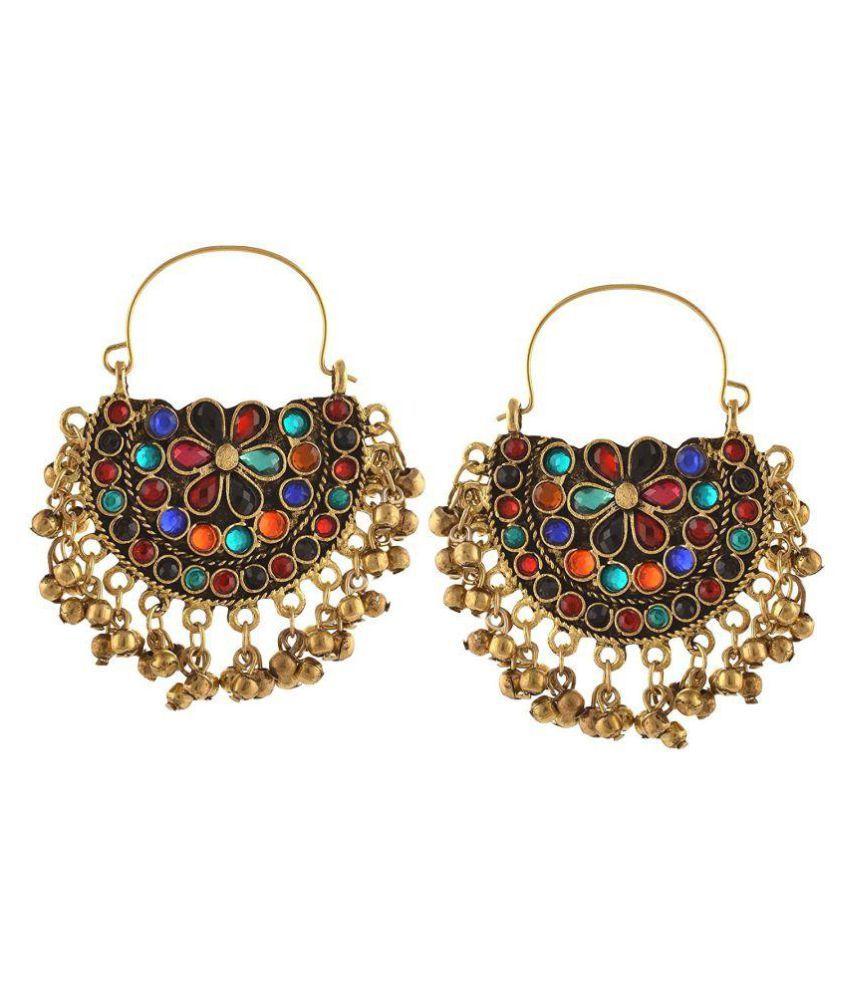 Afghani Tribal Oxidised Dangler Stylish Fancy Party Wear Chandbali Earrings for Girls and Women