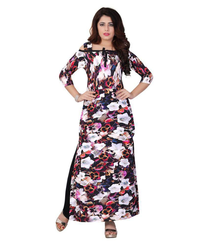 Sukhvilas Fashion Multicoloured Crepe A-line Kurti