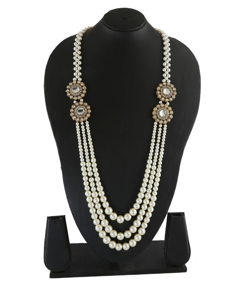 Anuradha Art White Colour Studded Sparkling Stones Three Layers Stylish Traditional Necklace Groom Moti Mala For Men