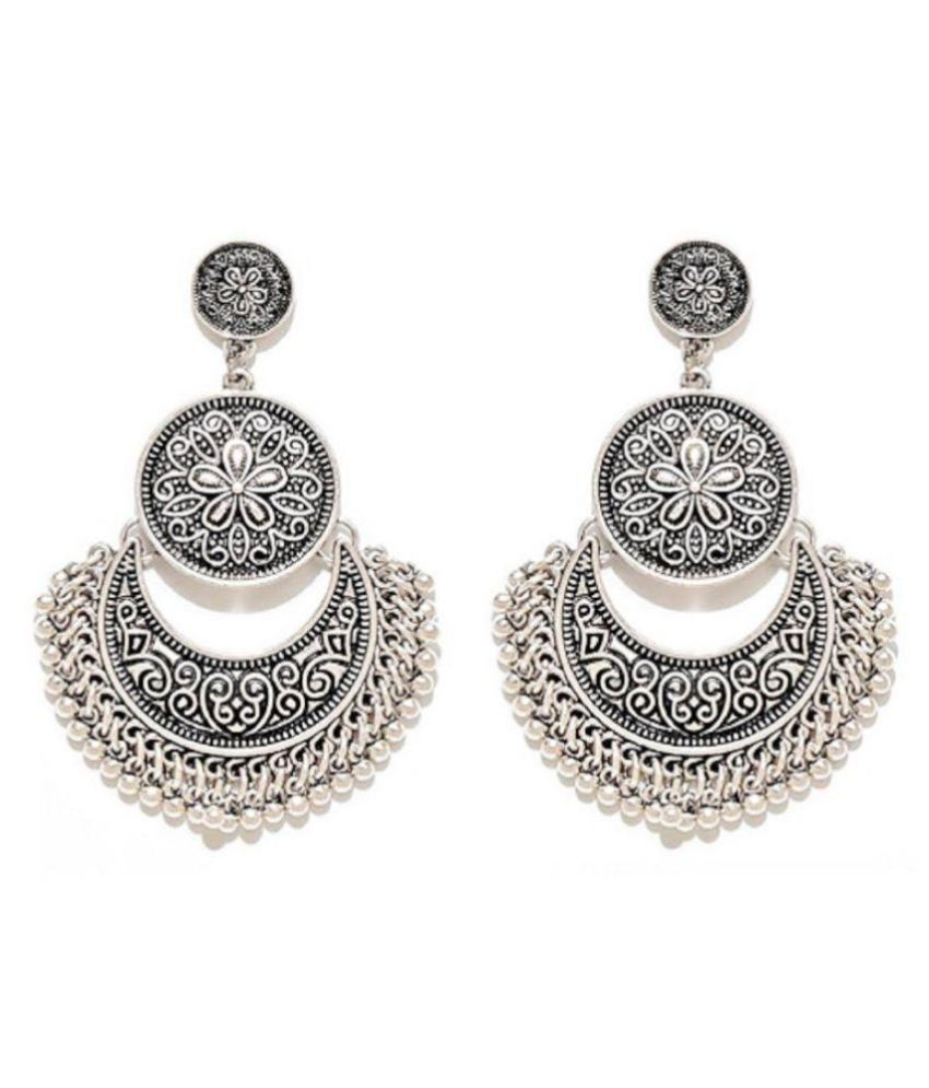 Vintage Ethnic Silver Coin Bell Drop Dangle Long Earrings