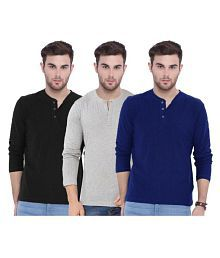 Gallop Multi Henley T-Shirt Pack of 3