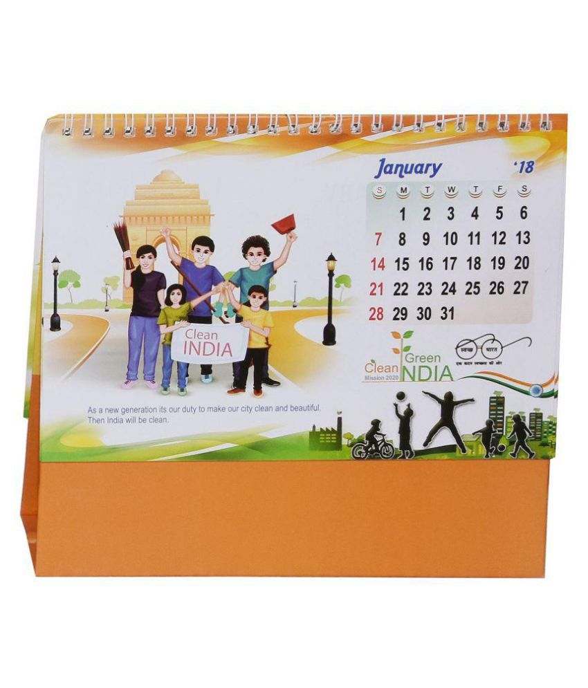 clean green swach india table desk top 2018 calendar