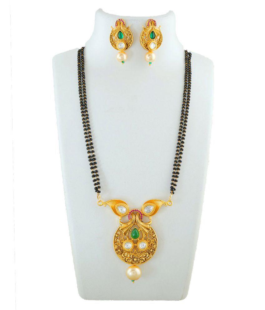 Anuradha Art Gold Finish Very Pretty Designer Double Layer Black Beaded Chain Mangalsutra For Women