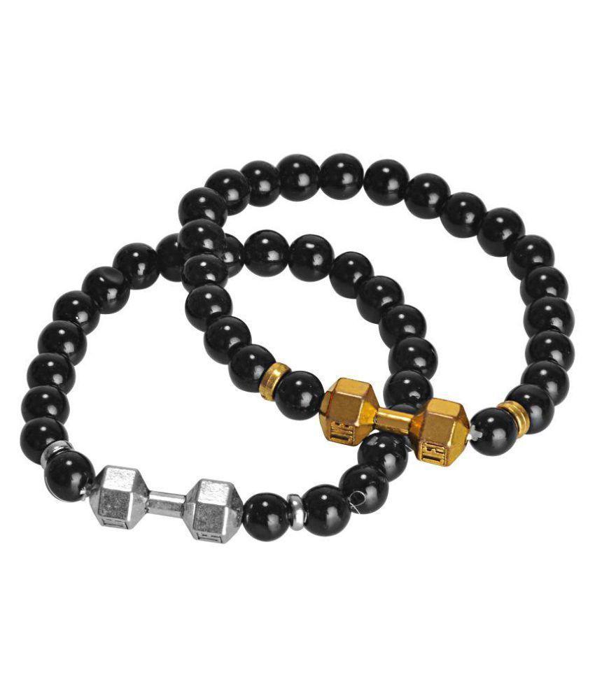 carrydreams Black Oxidized  Charm Beads  dumbell Bracelet For Men