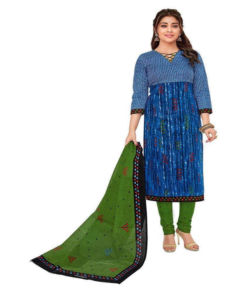 Chatri Fashions Blue Cotton Dress Material