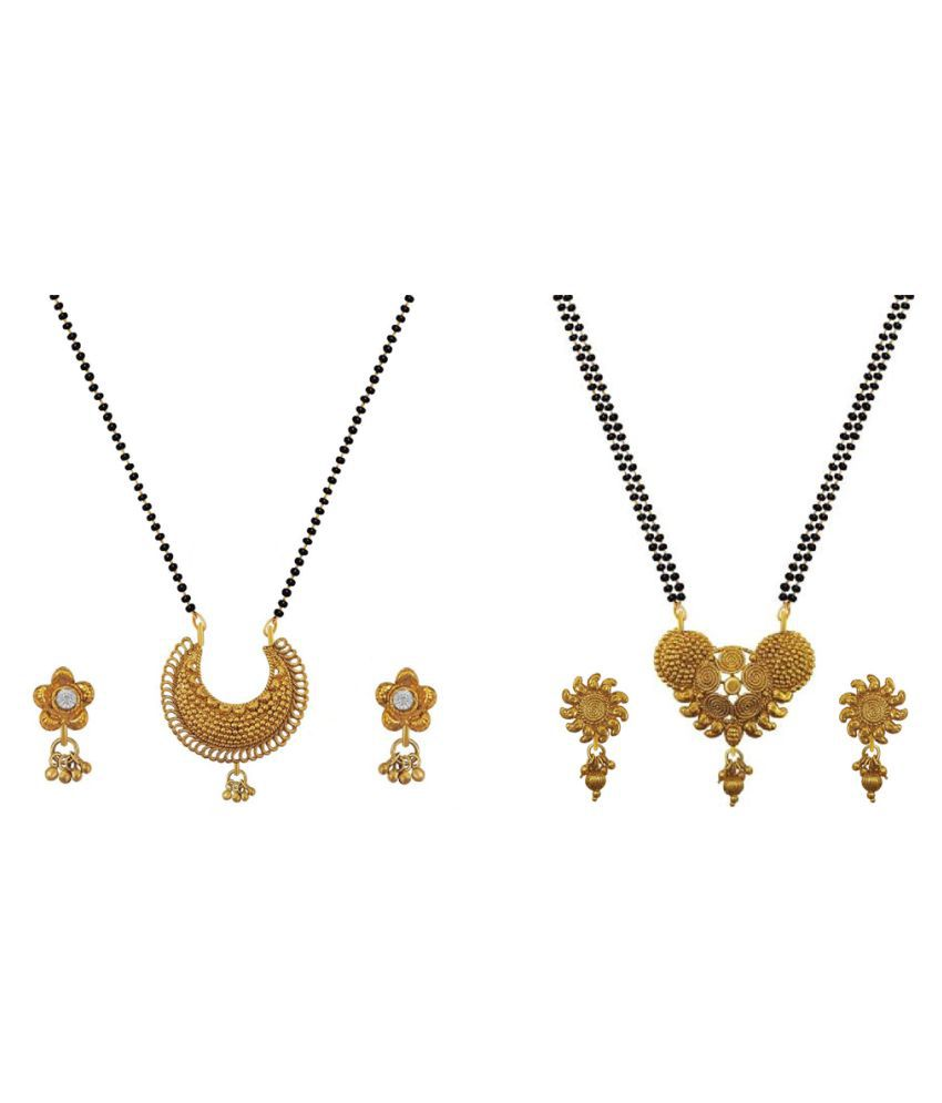 Aabhu Stylish Combo of 2 Mangalsutra with Earrings Pair Jewellery Set for Women