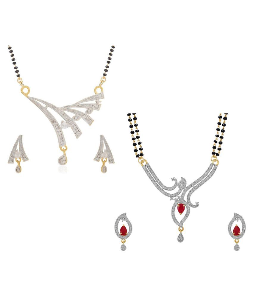 Aabhu Traditional Combo of 2 Mangalsutra with Earrings Pair Jewellery Set for Women