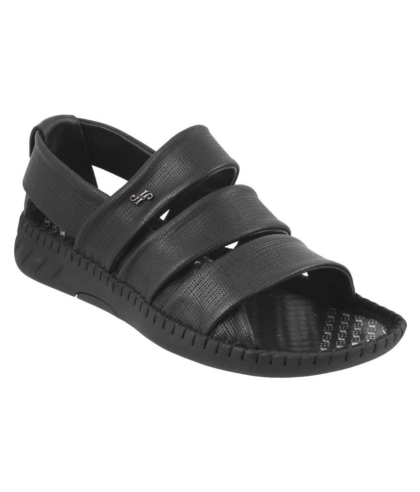b2142153bf4 J Fontini MOCHI Men BLACK LEATHER BLACK Sandals Price in India- Buy J  Fontini MOCHI Men BLACK LEATHER BLACK Sandals Online at Snapdeal