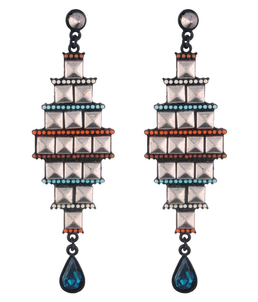 Jazz Alloy Blue Color Drop Antique Oxidised Silver Plated Traditional Tribal Designer Long Dangler Earring for Ladies Girls Women