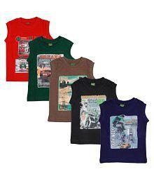 Fashion Biz Sleeveless Boys T-Shirts Red_Bgreen_Brown_Dgreen_Navy (Pack Of 5)