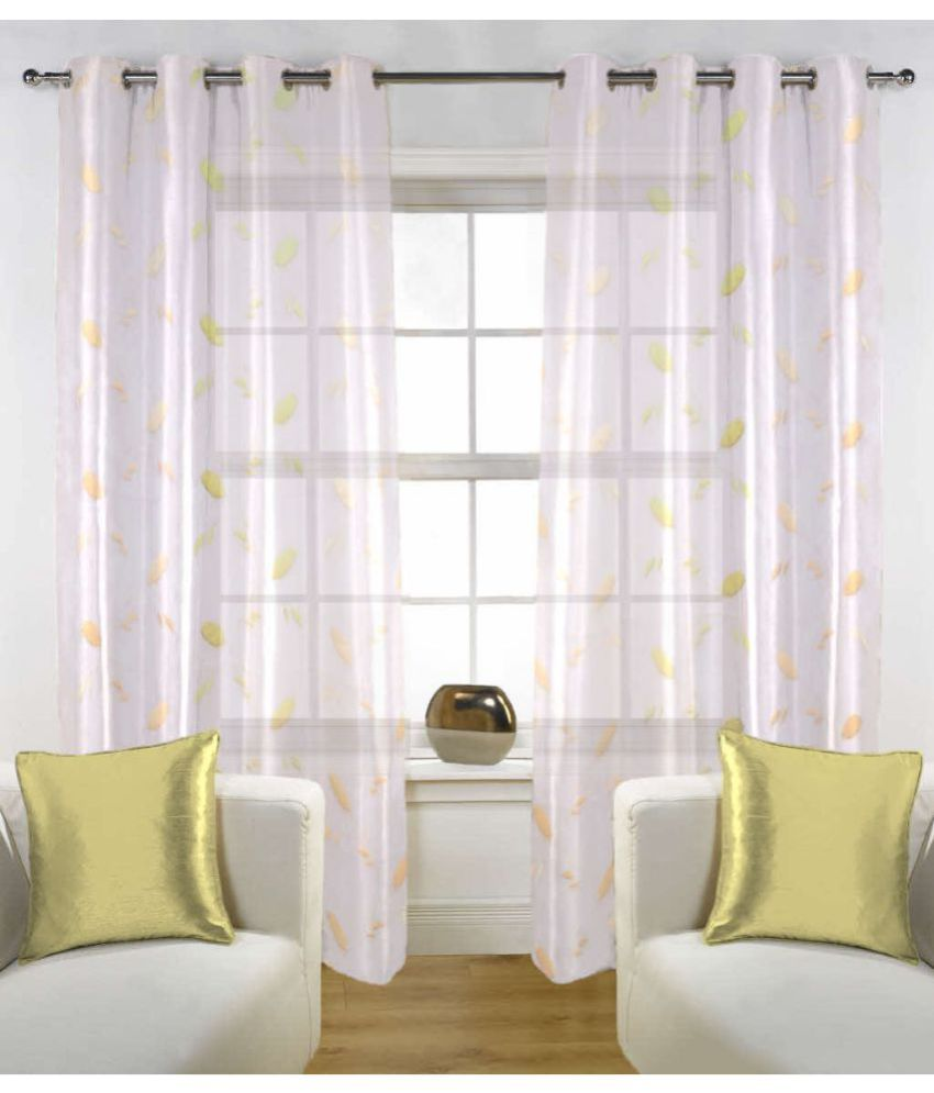 Fabutex Set of 2 Door Eyelet Curtains Embroidered White