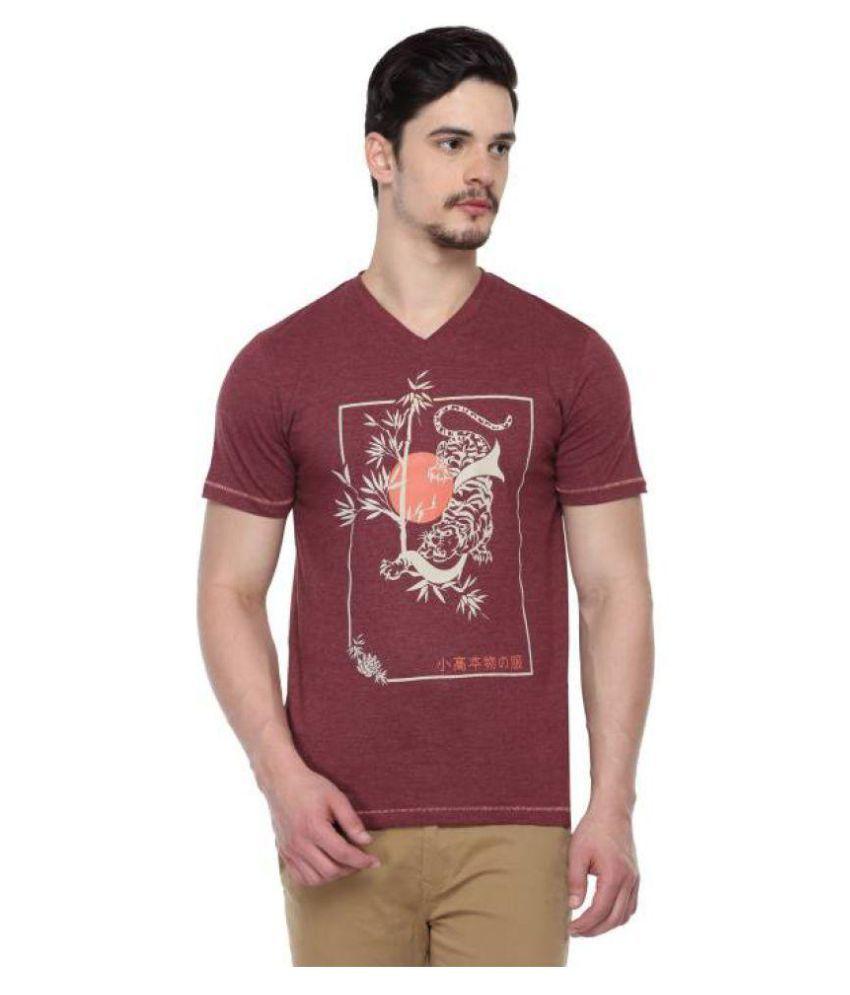 ODAKA Maroon V-Neck T-Shirt Pack of 1