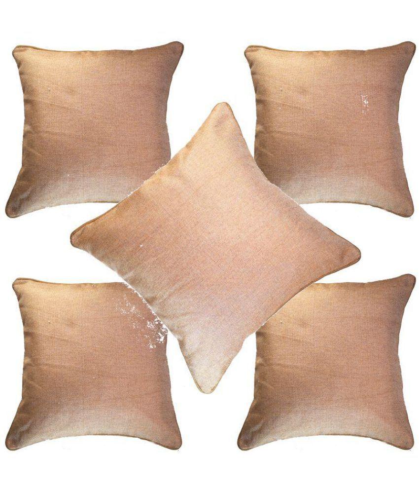 S N TRADERS Set of 5 Jute Cushion Covers 40X40 cm (16X16)