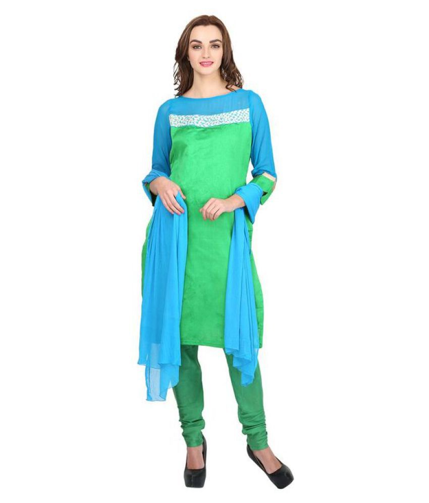 sapt rang fahion Green Georgette A-line Stitched Suit