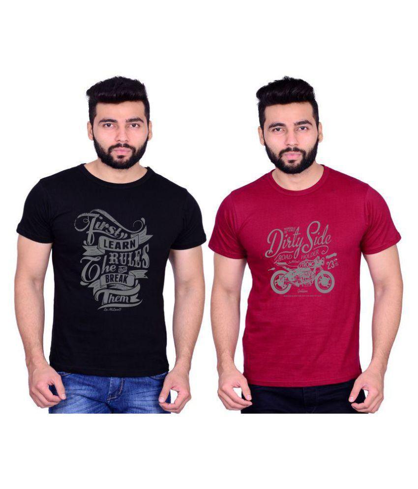 La Milano Black Round T-Shirt Pack of 2