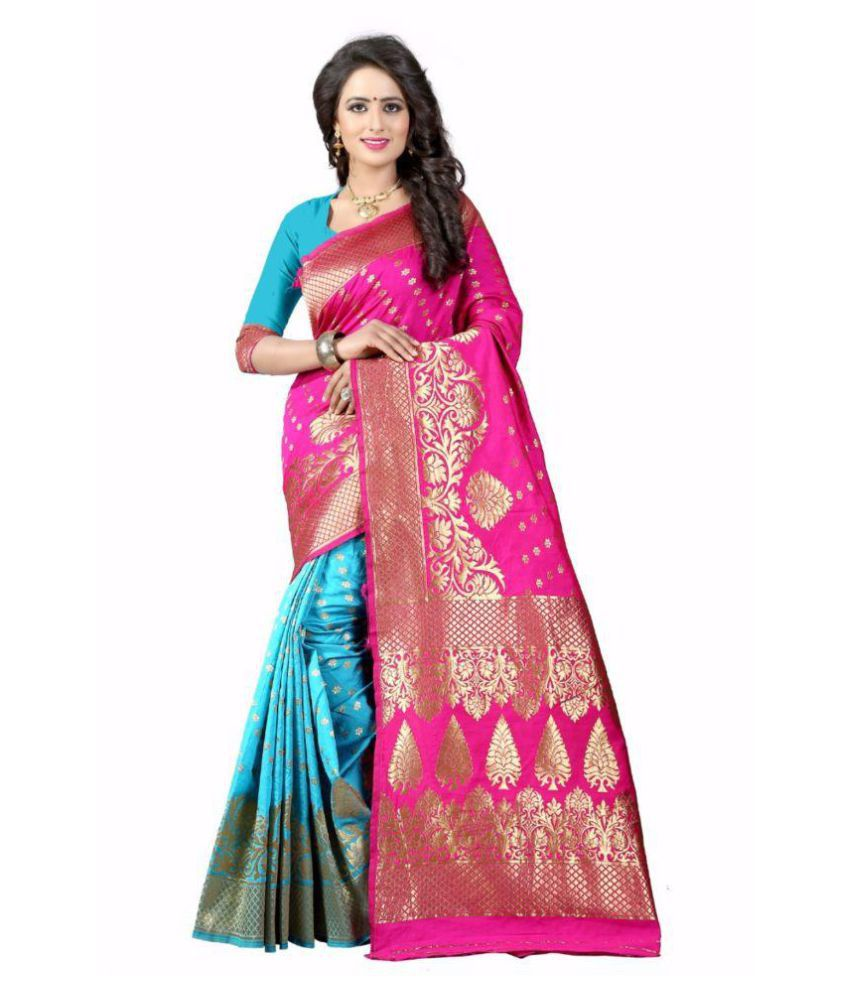 OM SAI CREATION Pink Art Silk Saree