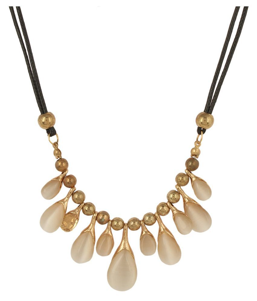 Fayon Party Style Diva Cream Crystal Drops Choker Necklace