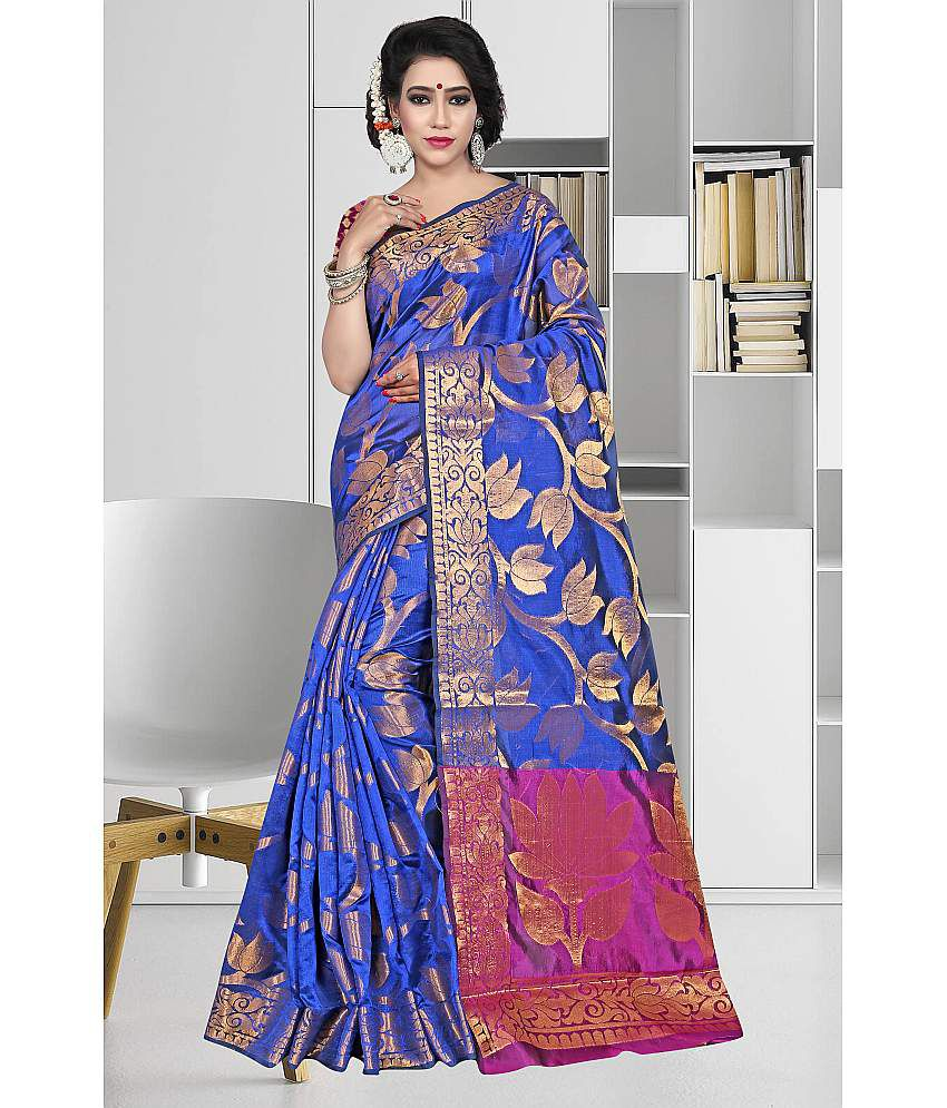 Gazal Fashions Blue Silk Saree