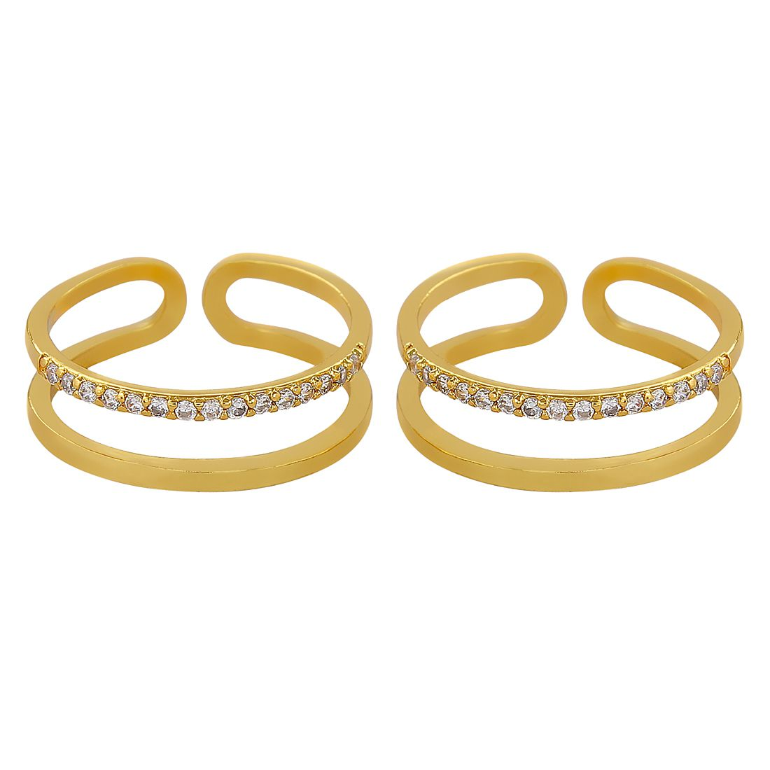 MUCH MORE Fabulous Gold Plated Toe Ring with Crsstal Stone
