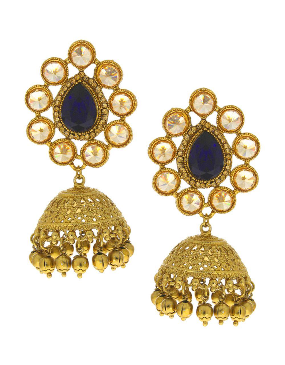Anuradha Art Blue Colour Very Classy First Look Beautiful Traditional Jhumki/Jhumkas Earrings For Women/Girls