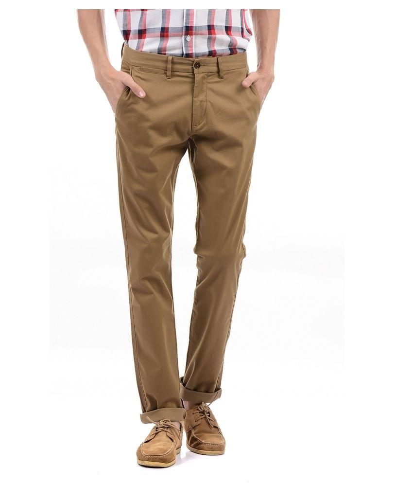 Arrow Sport Brown Slim -Fit Flat Trousers