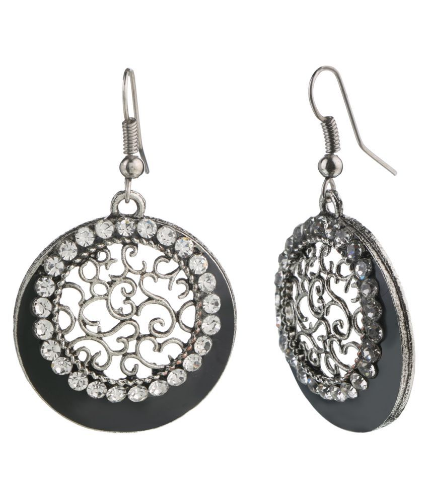 Archi Collection Designer Oxidised Silver Plated Fancy Party Wear Cystal Black Danglers Earring for Girls and Women