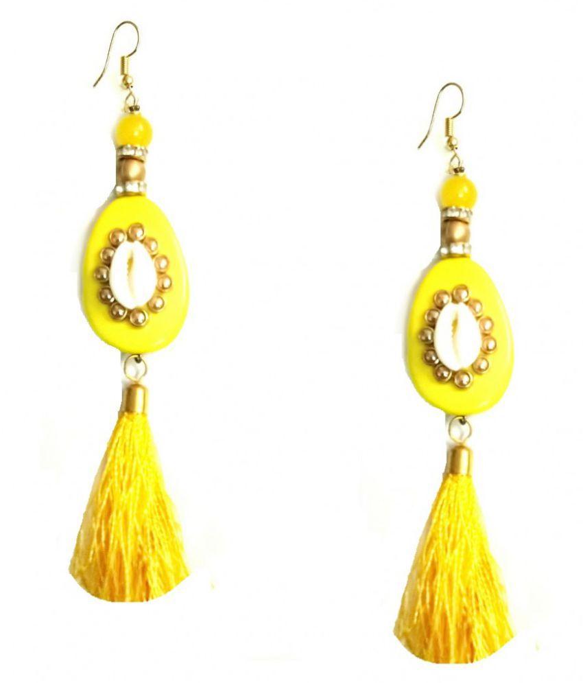 Turqueesa Beaded Mirror StoneWork Oval Playful Tassel Long Dangler - Yellow