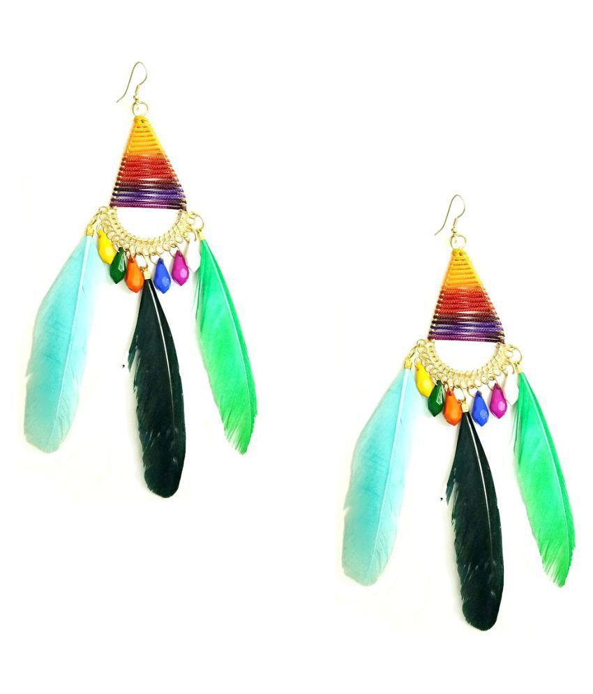Turqueesa Beaded Triangle Style Long Feather Tassel Dangler - Multi