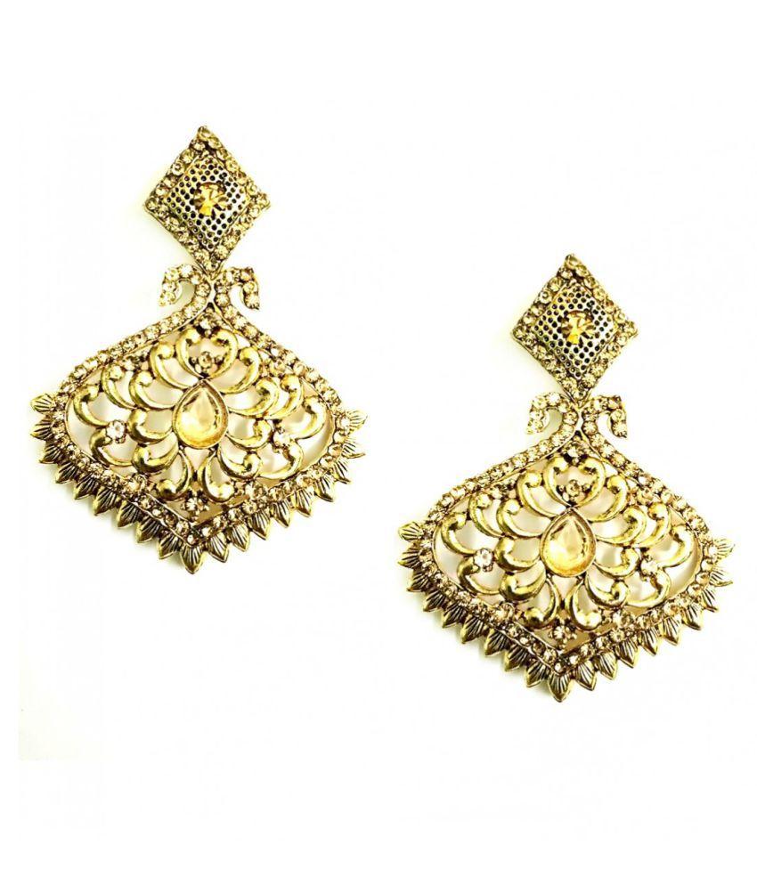 Turqueesa Gracious Temple Bronze Golden Ethnic Metal Earring