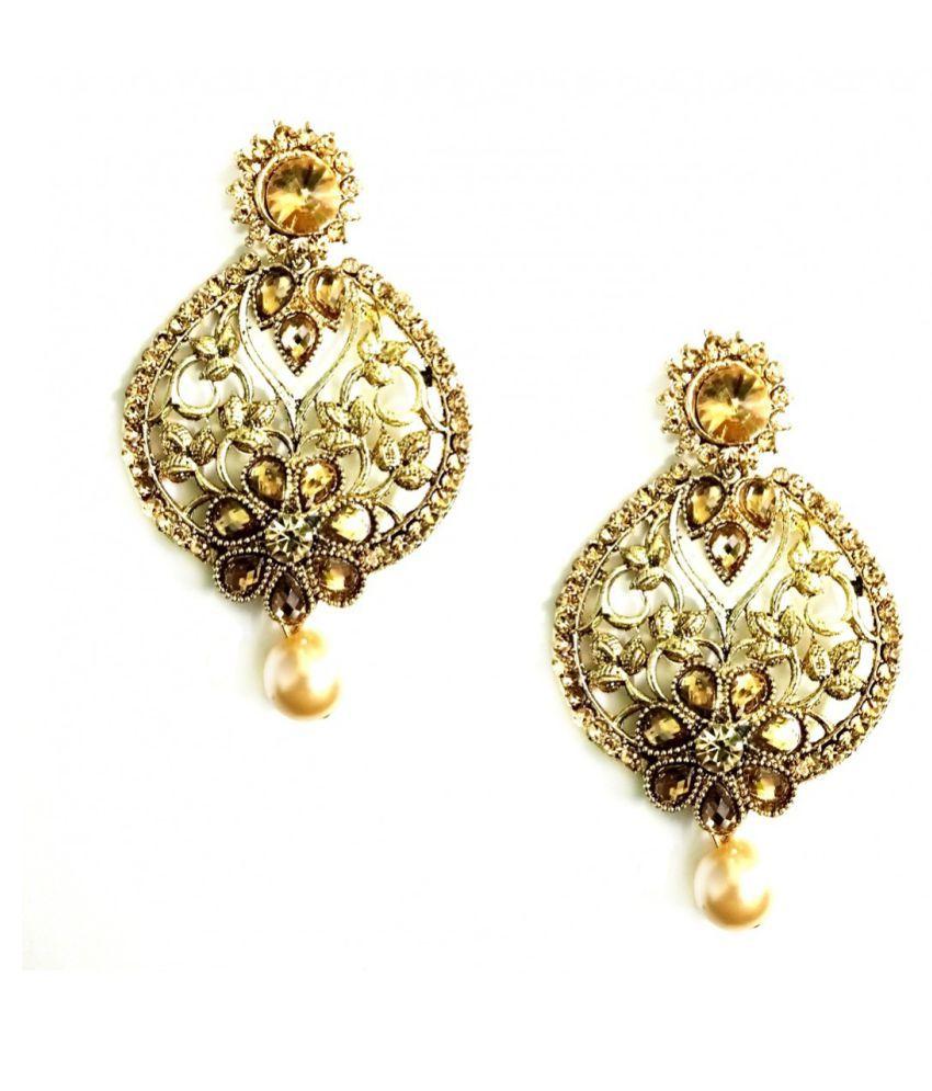 Turqueesa Sun Bronze Golden Ethnic Metal Pearl Earring