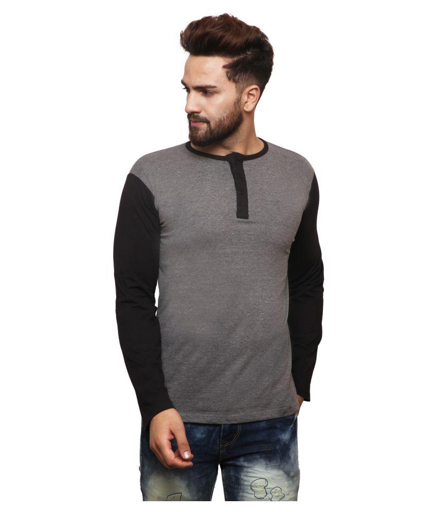 X-CROSS Grey Henley T-Shirt Pack of 1
