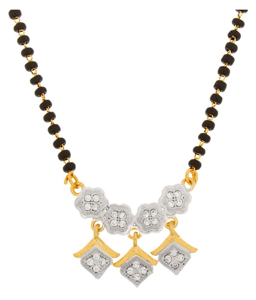 Aadita Ethnic Traditional Gold Plated Black Beads American Diamond Mangalsutra with Earrings for Women