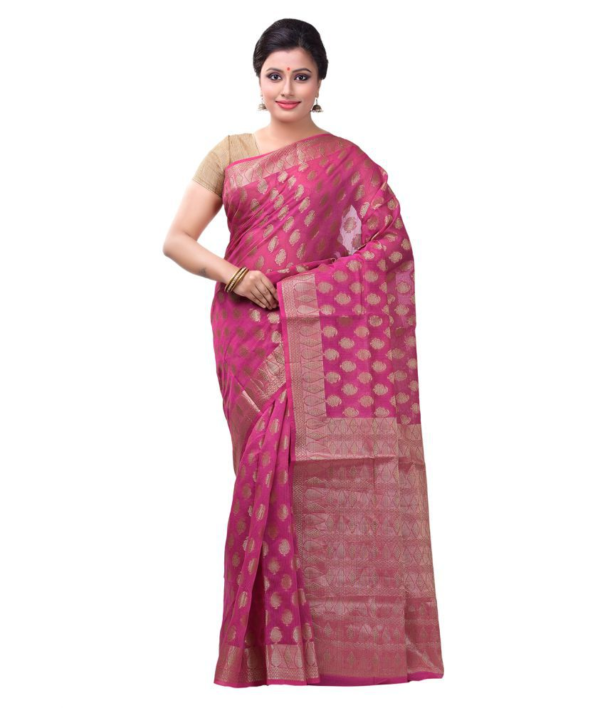 Bunkar Magenta Cotton Saree
