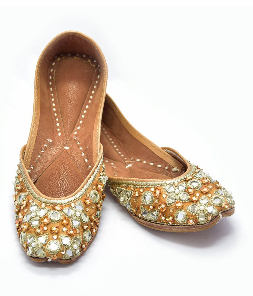 Just Differ Gold Ethnic Footwear