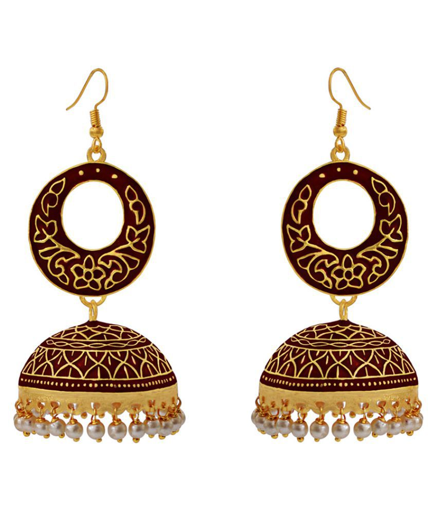 Traditional meenakari gold plated red bali danglers with tokri earring set-581