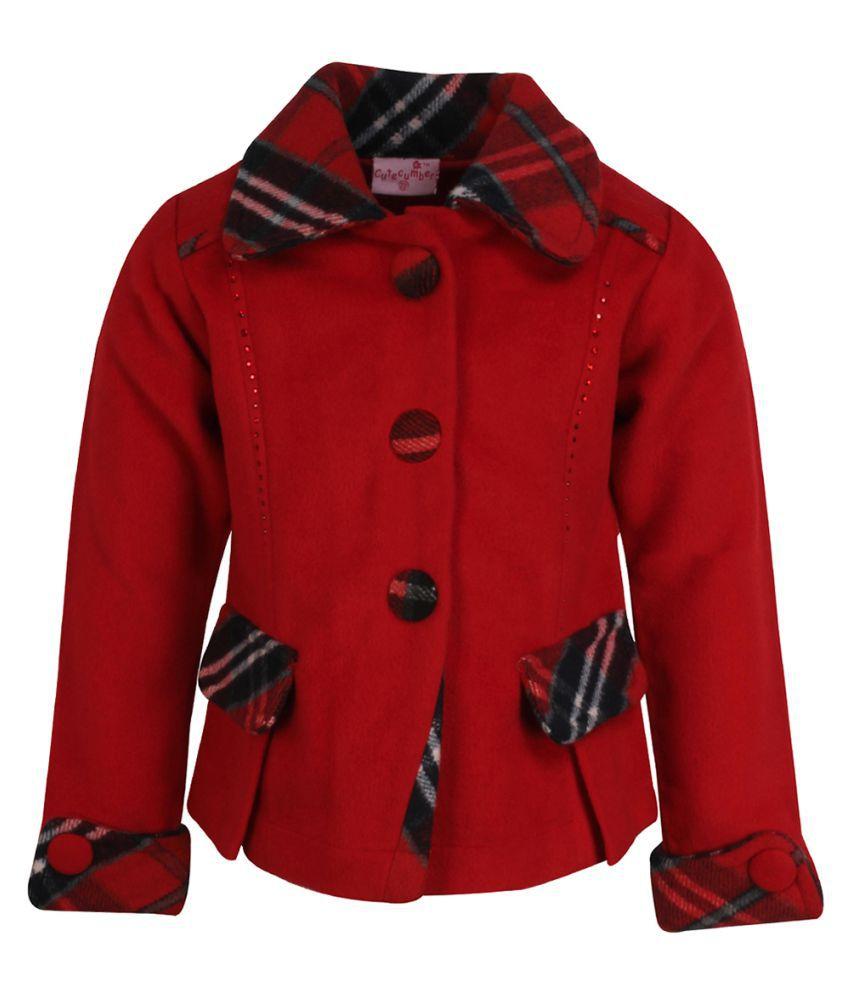Cutecumber Girls Partywear Coat Fabric Coat