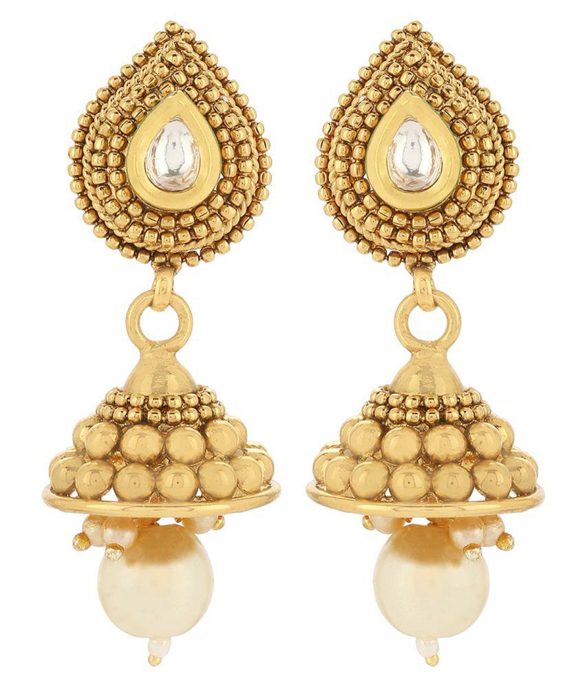Priyaasis Royal Gold Pearl Kundan Polki Necklace Set With Earrings